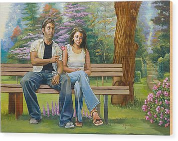 Lovers On A Bench Wood Print by Dominique Amendola