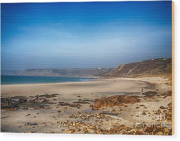 Low Tide At Sennen Cove Wood Print by Chris Thaxter