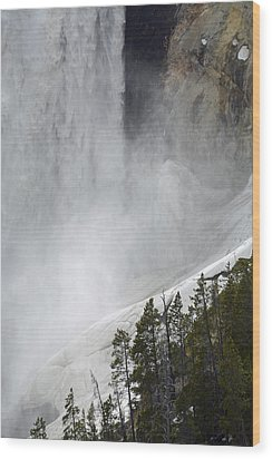 Lower Falls Of The Yellowstone Close-up In Spring Wood Print by Bruce Gourley