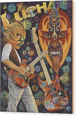 Lucha Rock Wood Print by Ricardo Chavez-Mendez