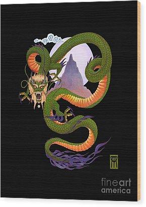 Lunar Chinese Dragon On Black Wood Print by Melissa A Benson