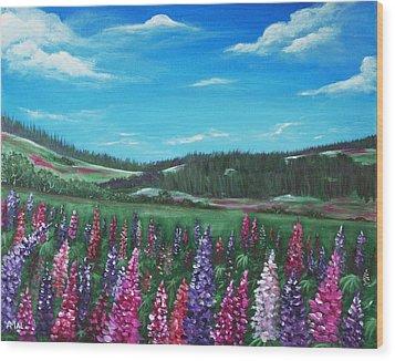 Lupine Hills Wood Print by Anastasiya Malakhova