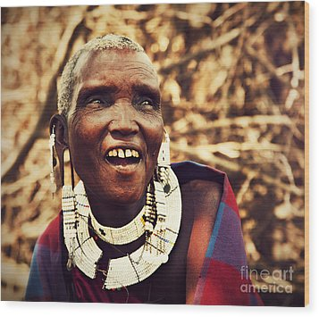 Maasai Old Woman Portrait In Tanzania Wood Print by Michal Bednarek