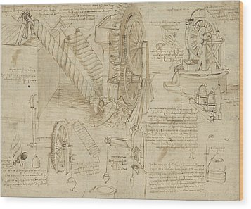 Machines To Lift Water Draw Water From Well And Bring It Into Houses From Atlantic Codex  Wood Print by Leonardo Da Vinci