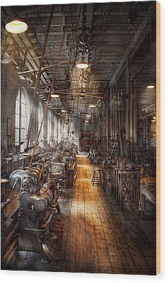 Machinist - Welcome To The Workshop Wood Print by Mike Savad