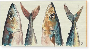 Mackerel Fishes Wood Print by Juan  Bosco