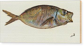 Mackerel Scad Wood Print by Juan  Bosco