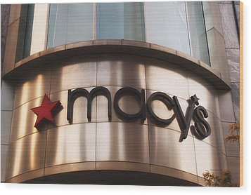 Macys Signage Wood Print by Thomas Woolworth