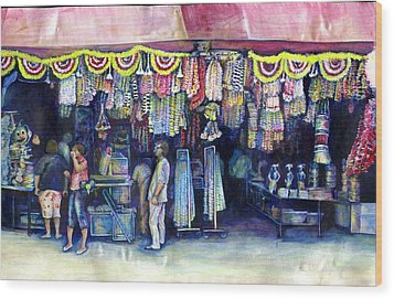 Mad Man Of Market And Main Singapore Wood Print by Gaye Elise Beda