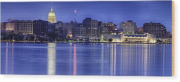 Madison Skyline Reflection Wood Print by Sebastian Musial
