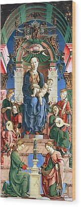 Madonna With The Child Enthroned  Wood Print by Cosme Tura