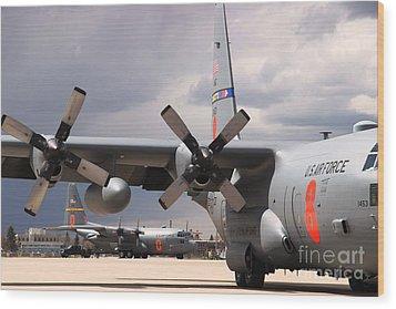Wood Print featuring the photograph Maffs C-130s At Cheyenne by Bill Gabbert