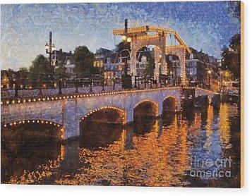Magere Brug Bridge In Amsterdam Wood Print by George Atsametakis