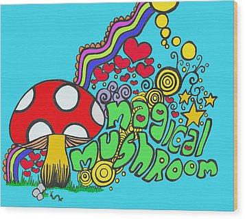 Magical Mushroom Pop Art Wood Print by Moya Moon