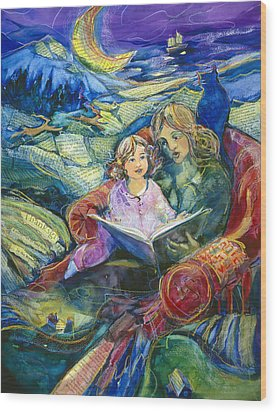 Magical Storybook Wood Print by Jen Norton