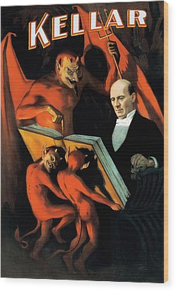 Magician Harry Kellar And Demons  Wood Print by Jennifer Rondinelli Reilly - Fine Art Photography
