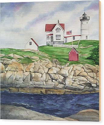 Maine Lighthouse Watercolor Wood Print by Michelle Wiarda