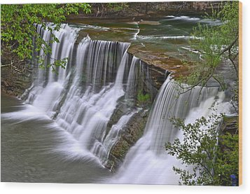 Majestic Falls Wood Print by Frozen in Time Fine Art Photography