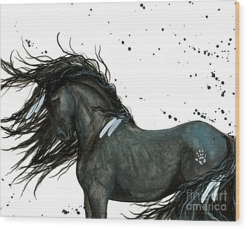 Majestic Friesian Horse 112 Wood Print by AmyLyn Bihrle