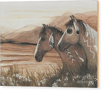 Majestic Mustang Series 42 Wood Print by AmyLyn Bihrle
