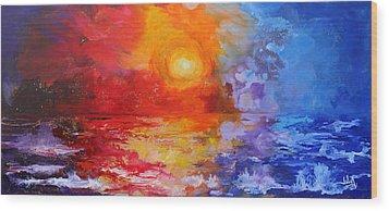 Majestic Sunset Wood Print by Julia Apostolova
