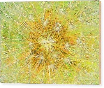 Make A Wish In Greenish Yellow Wood Print by Jennifer E Doll