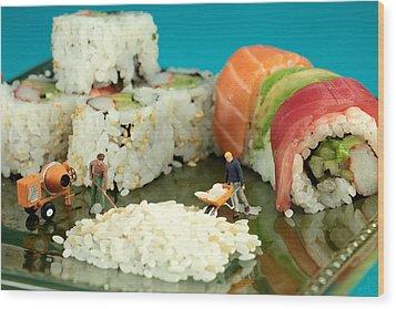 Making Sushi Little People On Food Wood Print by Paul Ge