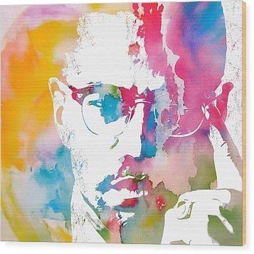 Malcolm X Watercolor Wood Print by Dan Sproul