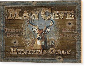 Man Cave Deer Wood Print by JQ Licensing