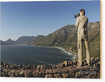 Man Photographing Hout Bay Wood Print by Sami Sarkis