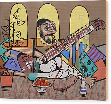 Man Playing A Sitar Wood Print by Anthony Falbo