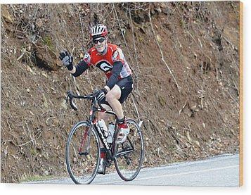 Man Riding Bike In A Race Wood Print by Susan Leggett