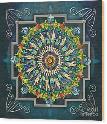 Mandala Night Wish Wood Print by Bedros Awak