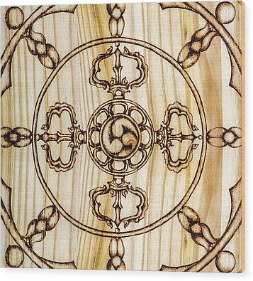 Mandala Wood Print by Nozomi Takeyabu