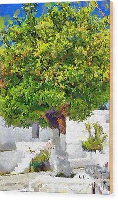 Mandarine Tree Painting Wood Print by Magomed Magomedagaev