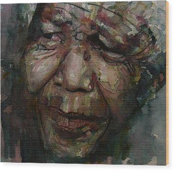Mandela   Wood Print by Paul Lovering