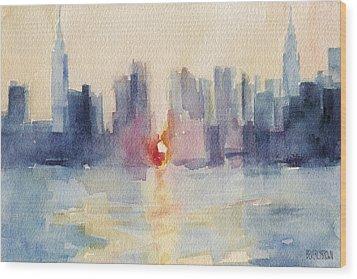 Manhattanhenge New York Skyline Painting Wood Print by Beverly Brown
