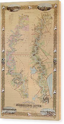 Map Depicting Plantations On The Mississippi River From Natchez To New Orleans Wood Print by American School