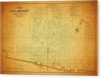 Map Of Detroit Michigan C 1835 Wood Print by Design Turnpike