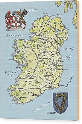 Map Of Ireland Wood Print by English School