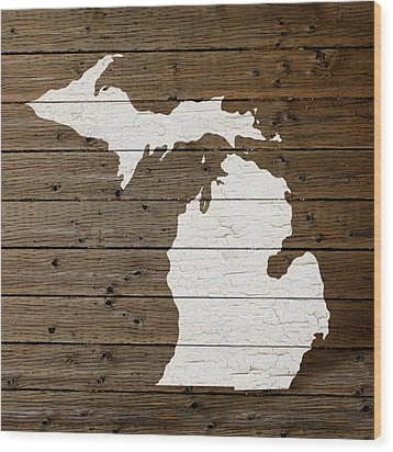 Map Of Michigan State Outline White Distressed Paint On Reclaimed Wood Planks Wood Print by Design Turnpike