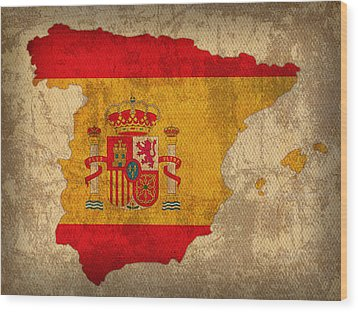 Map Of Spain With Flag Art On Distressed Worn Canvas Wood Print by Design Turnpike
