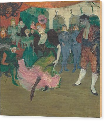 Marcelle Lender Dancing The Bolero In Chilperic Wood Print by Toulouse-Lautrec