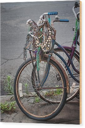 Mardi Gras Bicycle Wood Print by Brenda Bryant