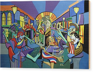 Mardi Gras Lets Get The Party Started Wood Print by Anthony Falbo