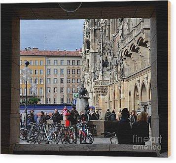 Mareinplatz And Glockenspiel Munich Germany Wood Print by Imran Ahmed