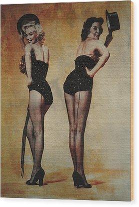 Marilyn Monroe And Jane Russell Wood Print by EricaMaxine  Price