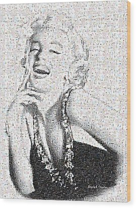 Marilyn Monroe In Mosaic Wood Print by Angela A Stanton
