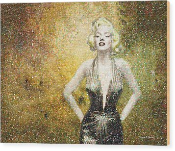Marilyn Monroe In Points Wood Print by Angela A Stanton