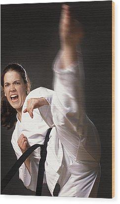 Martial Arts Kick Wood Print by Don Hammond